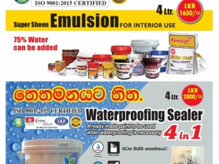 Super Sheen Emulsion and Waterproofing Sealer are now available at affordable prices from Naturelack Paints.