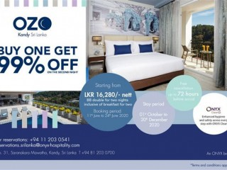 OZO Kandy - Buy one, get 99% off on second room night