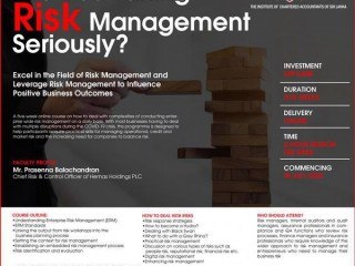 "CA Sri lanka - Five week course in "" Enterprise Risk Management"" - Register Now !"