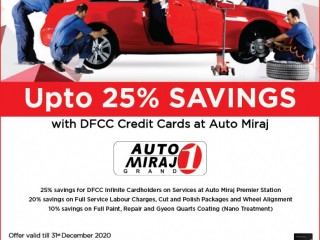 DFCC Bank - Enjoy upto 25% Off at Auto Miraj with DFCC Credit Cards!