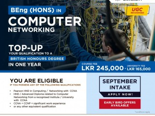 Top-Up your qualifications to a British (Hons) degree in Computer Networking- ESOFT Metro Campus